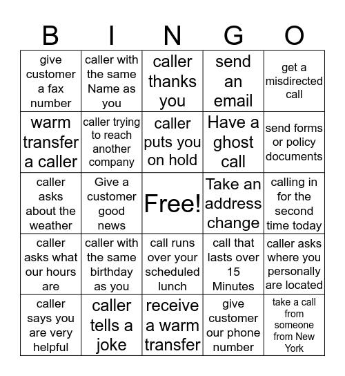 Contact Center Bingo! Bingo Card
