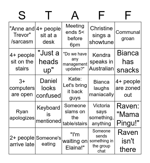 Threshold Bingo Card