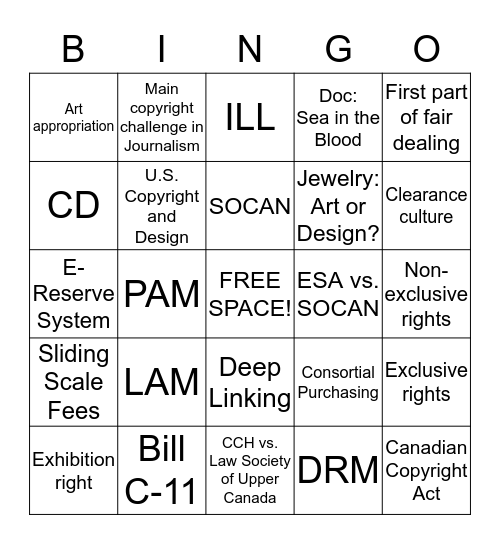 COPYRIGHT BINGO Card
