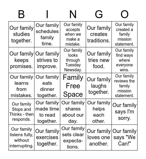 VRE Families Practice the 7 Habits Bingo Card