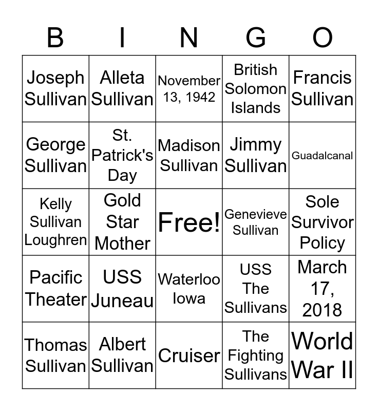 USS Juneau and Sullivan Brothers Bingo Card