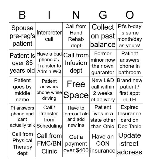 Service Access Week - Patient Encounter Bingo! Bingo Card