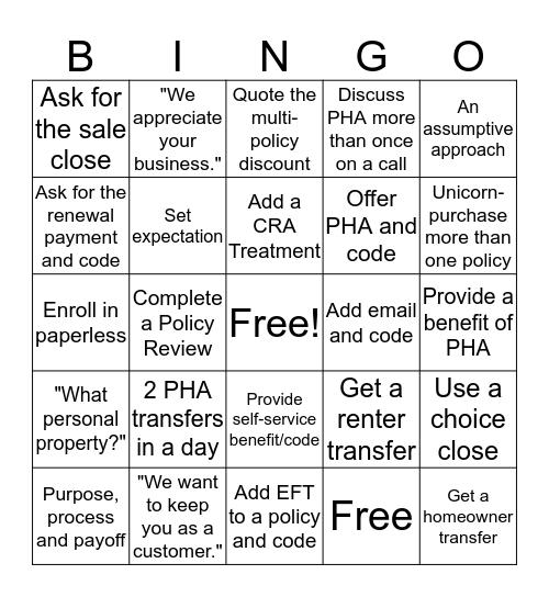 Blended Bingo Card
