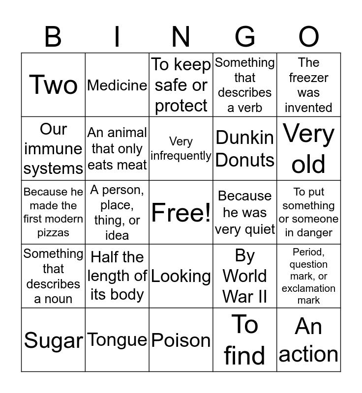 Reading Comprehension Bingo Card