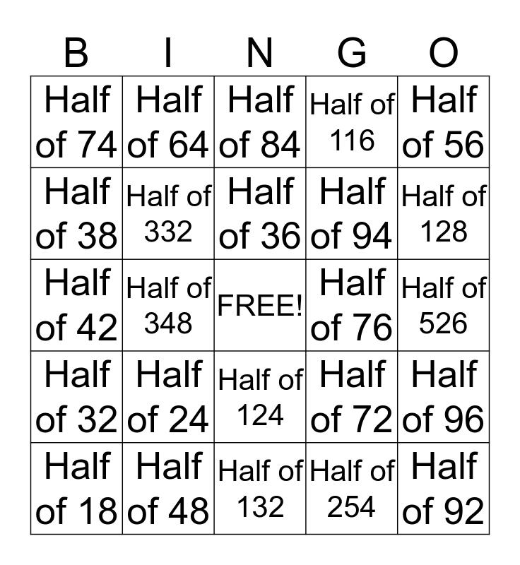 Halving Bingo Card