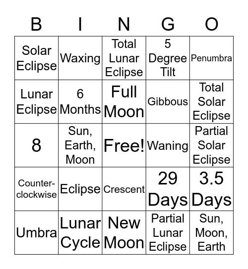 Moon Bingo Card