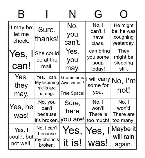 Modals Bingo Card