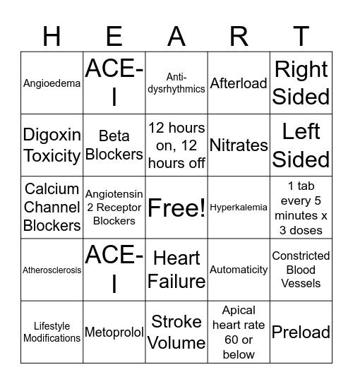 Heart Bingo Card