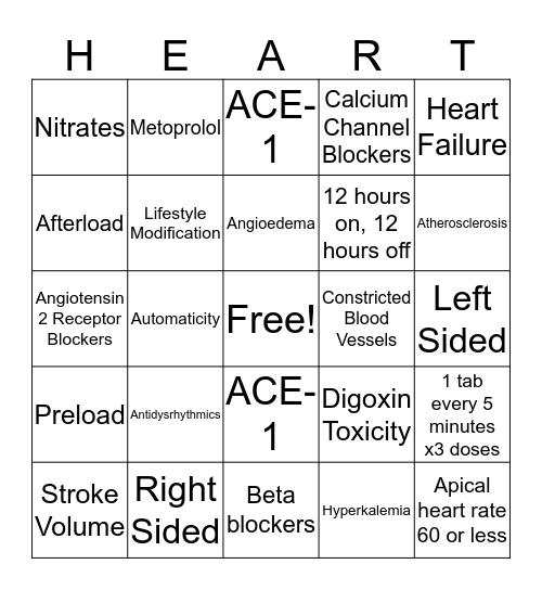 Cardiac Bingo Card