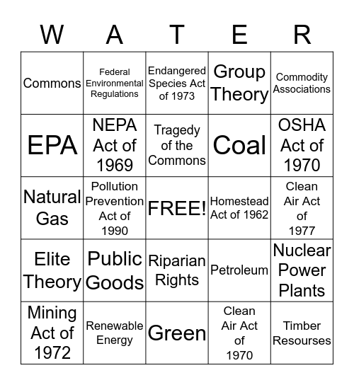 Green Policy Bingo Card