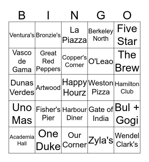 James Street Bar and Restaurant Challenge! Bingo Card