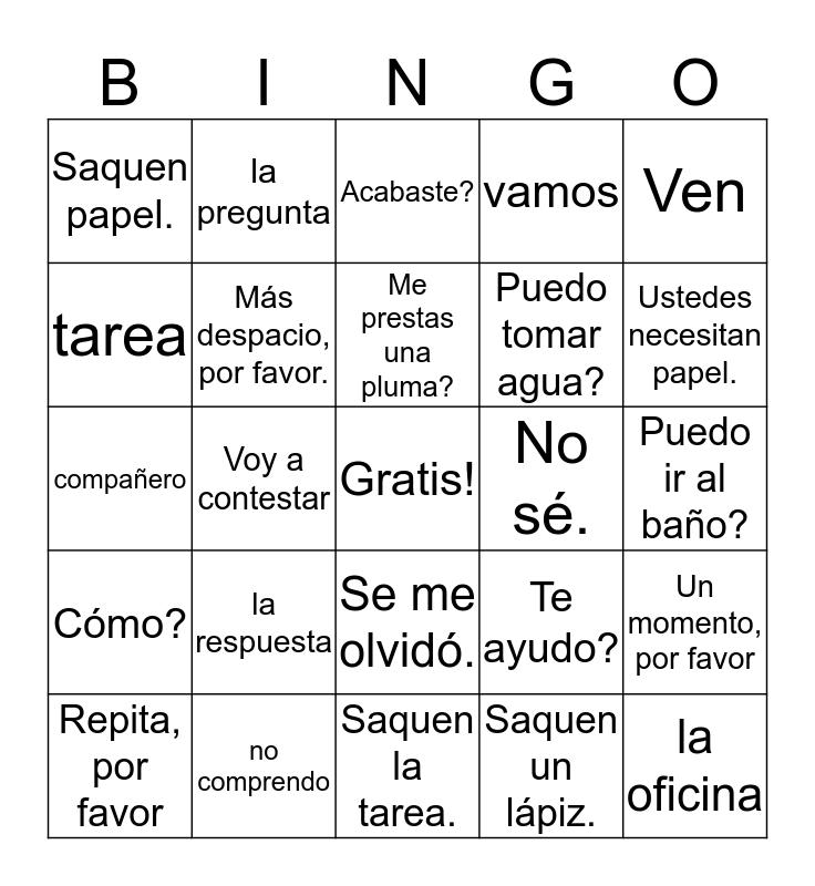 Expresiones de la clase Bingo Card