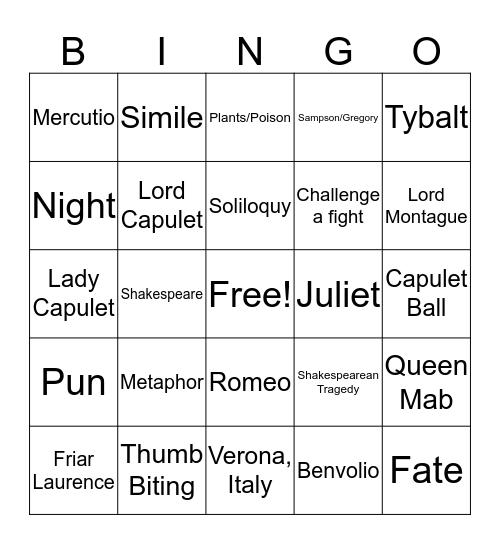Romeo and Juliet Bingo Card