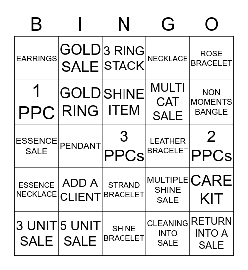 TIME TO SHINE BINGO! Bingo Card