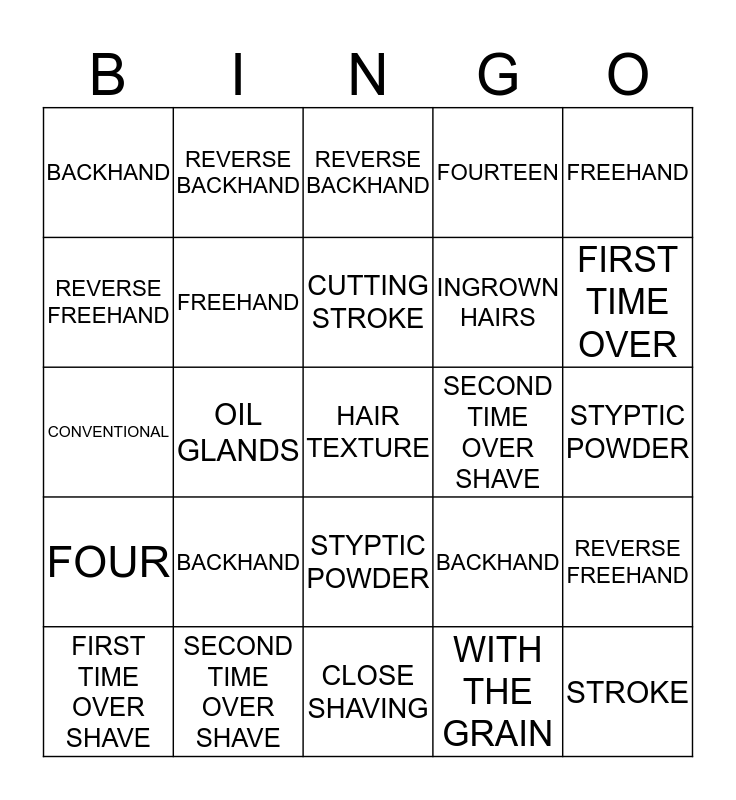 CH 13: SHAVING AND FACIAL DESIGNS Bingo Card