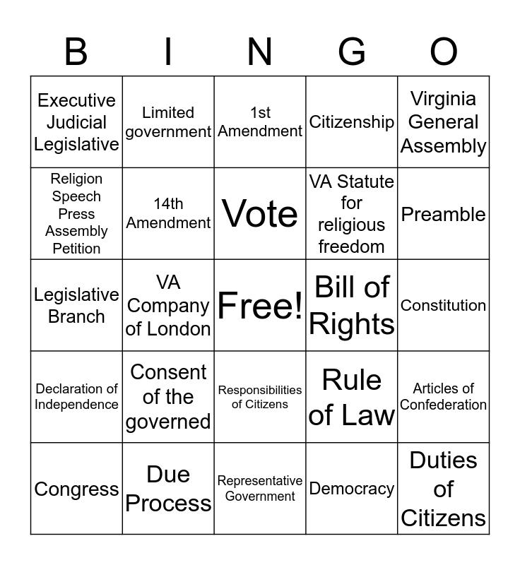 Civics Bingo (SOLS 1-5) Bingo Card