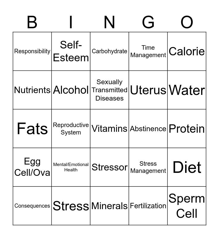 Health Vocabulary Bingo Card