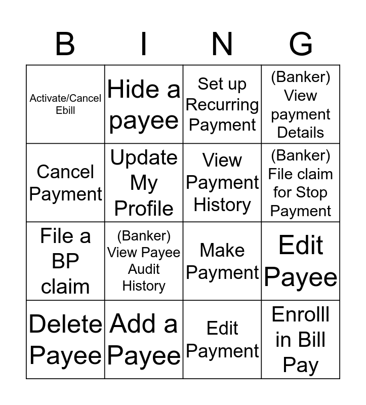 Bill Pay Dimi Bingo Card