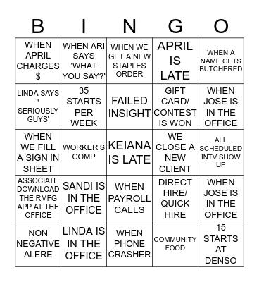 OFFICE B.I.N.G.O!!!!! Bingo Card