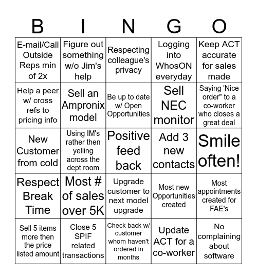 Sales Personal  Bingo Card