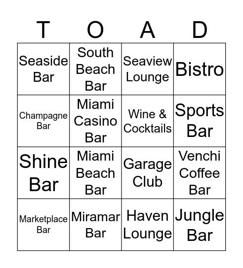 ToaD Bar Bingo Card