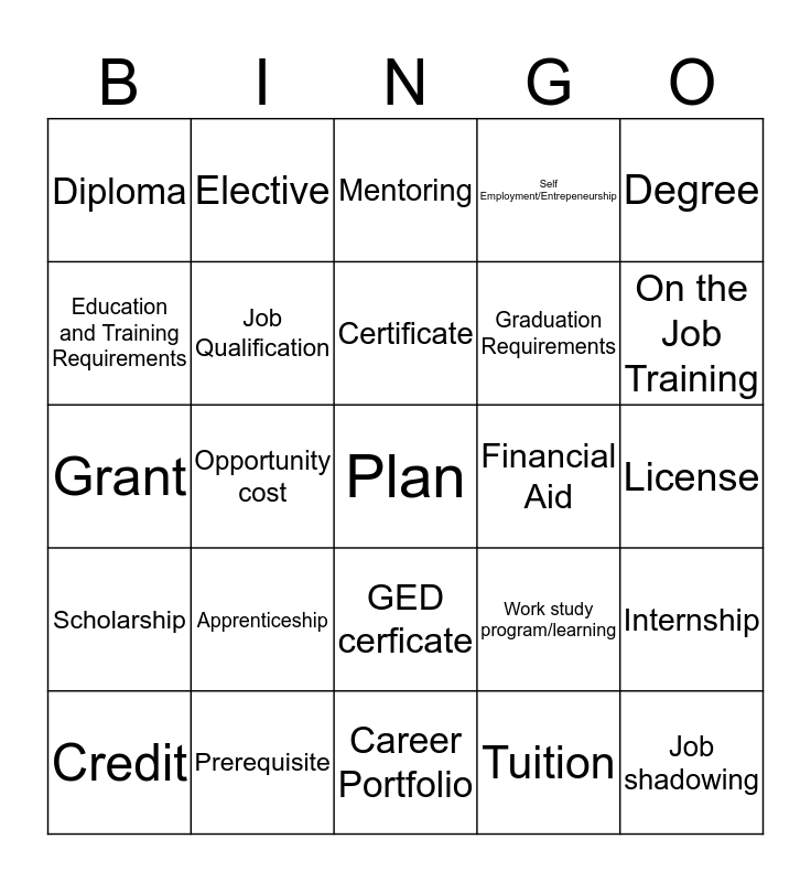High School and Career Planning Skills Bingo Card