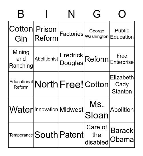 Industrialization and Reform Bingo Card