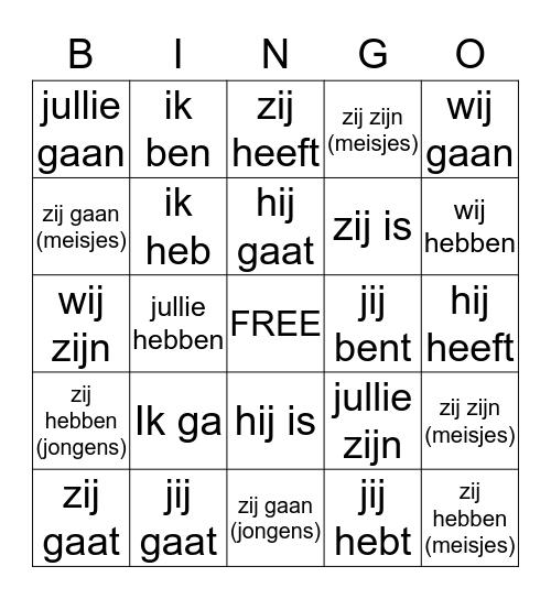 Franse werkwoorden Bingo Card
