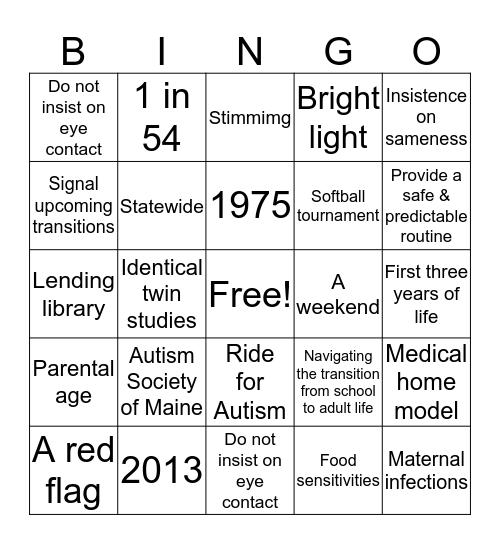 Autism Society of Maine Bingo Card
