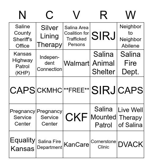 National Crime Victim's Rights Week 2018 Bingo Card