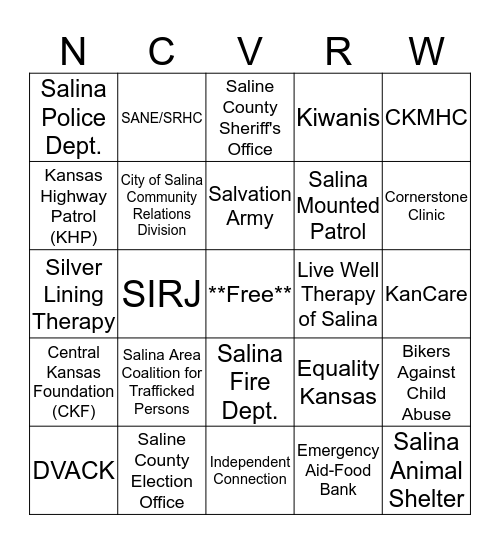 National Crime Victim's Rights Week 2018 Bingo Card