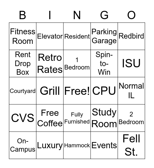 CollegePlace Bingo Card