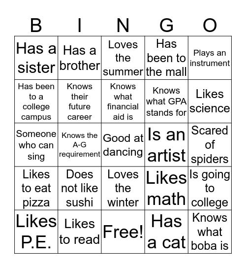 Sullivan Middle School Bingo Card
