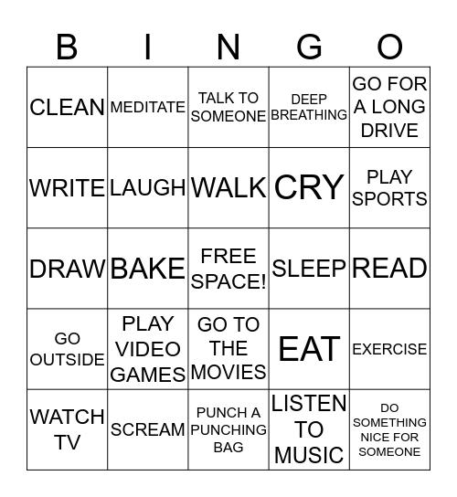 Stress Bingo Card