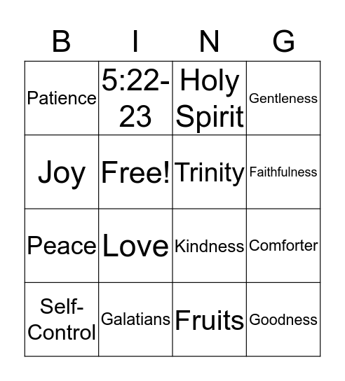 The Fruits of the Holy Spirit Bingo Card