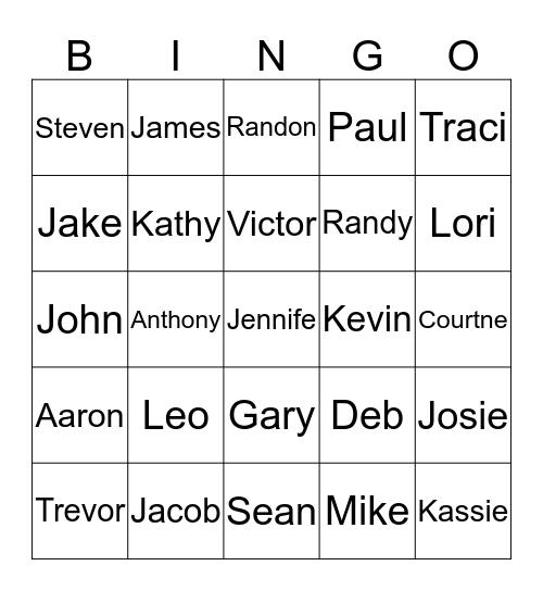 IT Employee Names Bingo Card