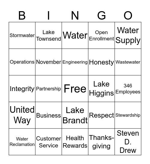 Water Resources Bingo Card
