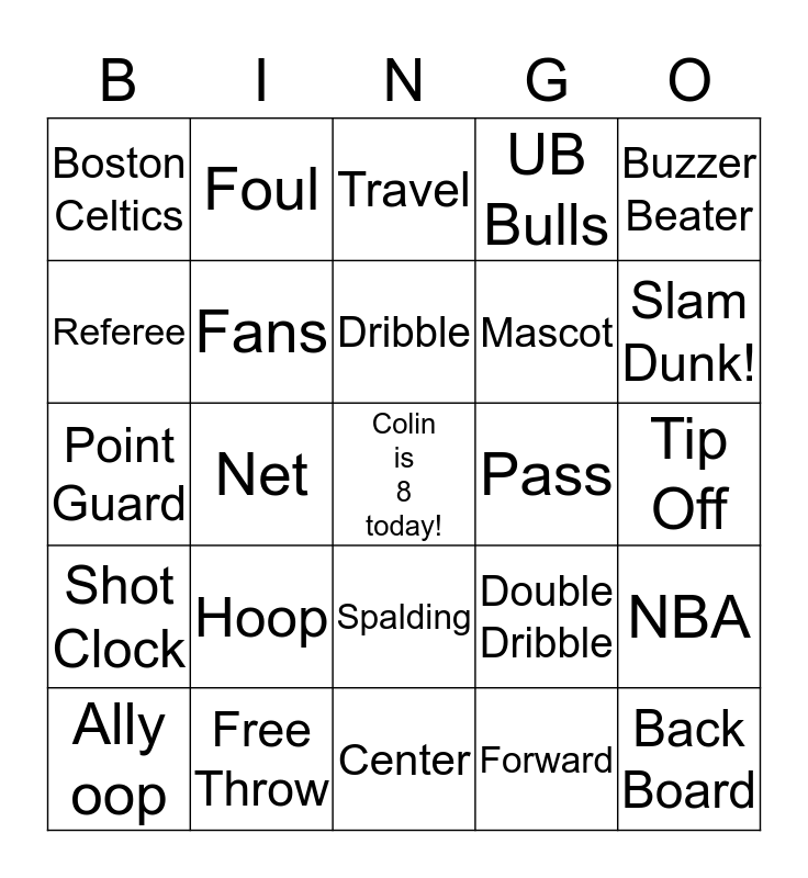 Basketball Fun! Bingo Card