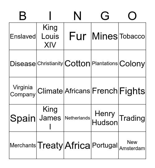Exploration and Trade Bingo Card