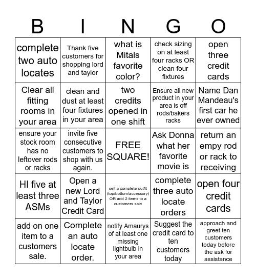 Sample LnT Bingo card Bingo Card