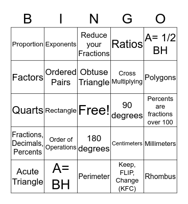 MATH 7/6  WEEK 31 Review Bingo Card