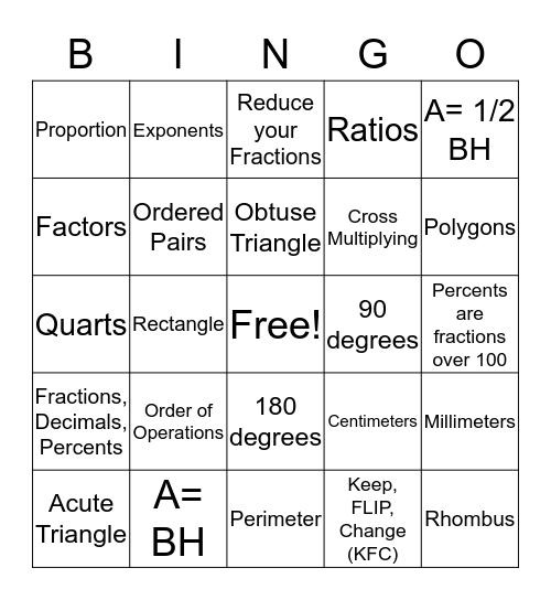 MATH 7/6  WEEK 31 Review Bingo Card