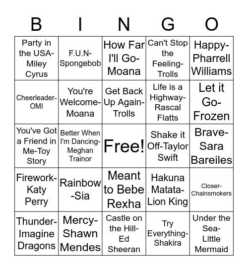 Song Bingo Card