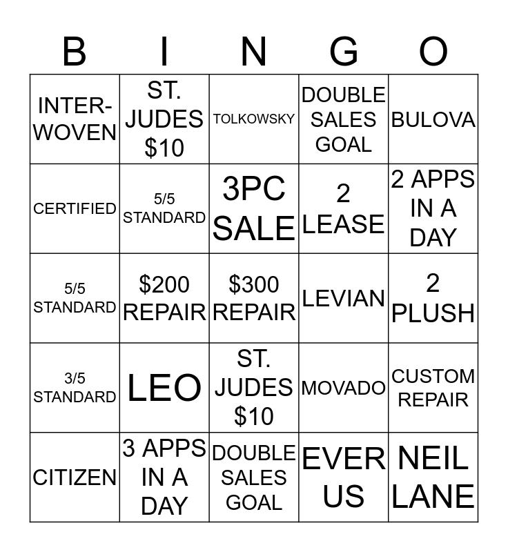 BULLSEYE Bingo Card