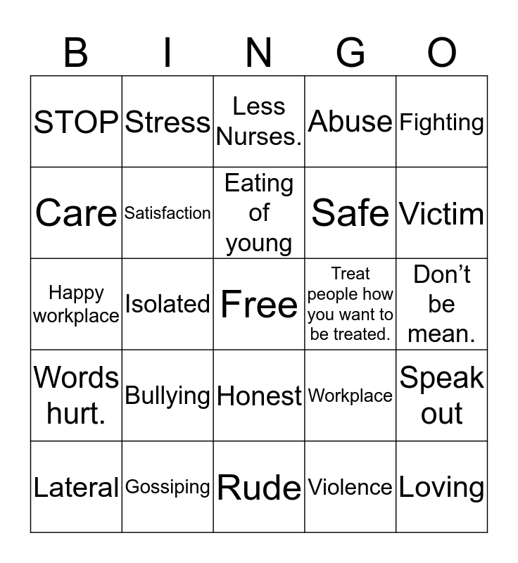 Lateral Violence Bingo Card