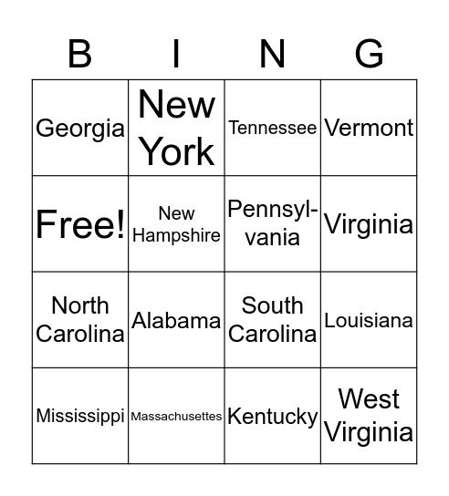 State and Capitals Bingo Card