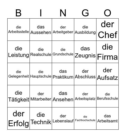 Bildung und Berufsleben Bingo Card