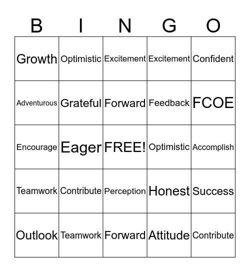 Positive Change Bingo Card