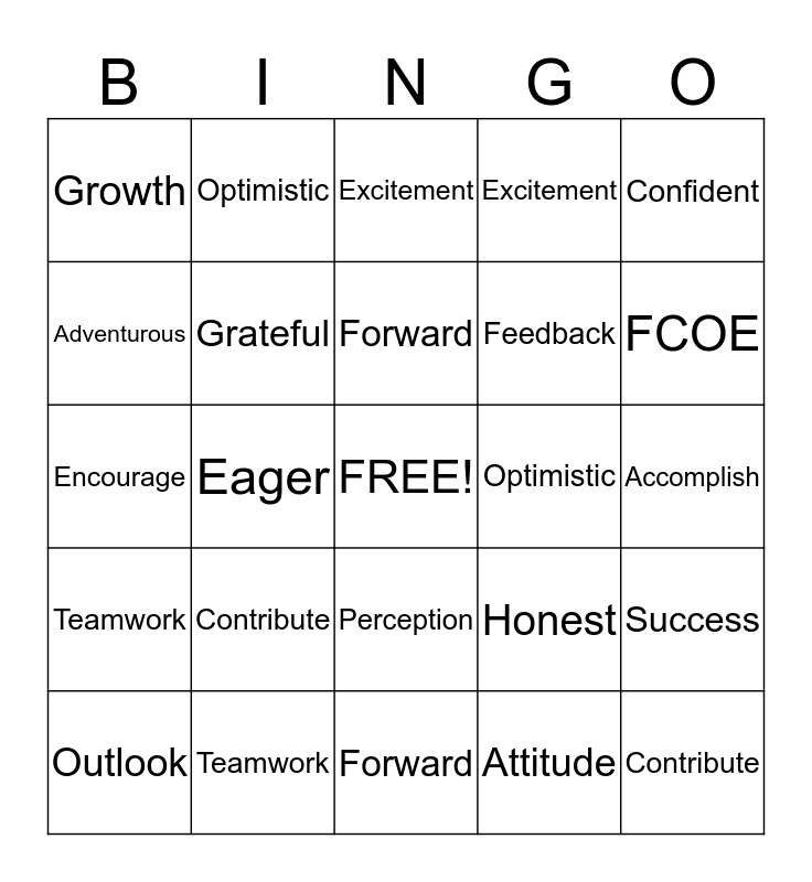 Positive Change Bingo Card