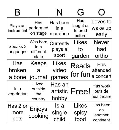 LDC Human Bingo Card